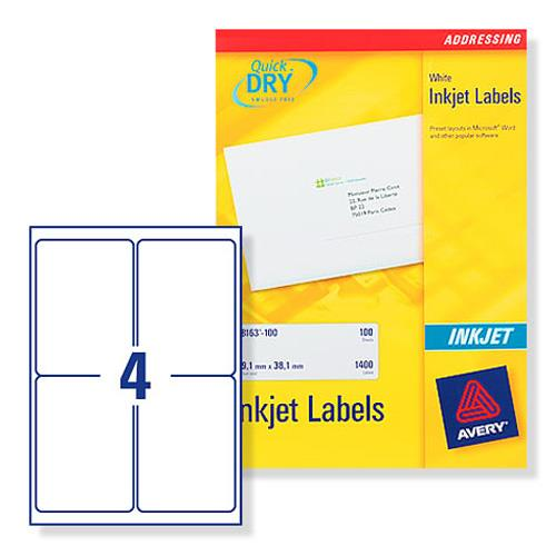 Avery J8169 Inkjet Address Labels 139x991mm 100 Labels White Ref