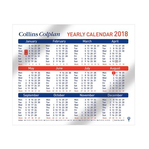 Collins Colplan Yearly Calendar 210 x 260mm Ref CDS1 2018 - CDS1 - yearly calendar