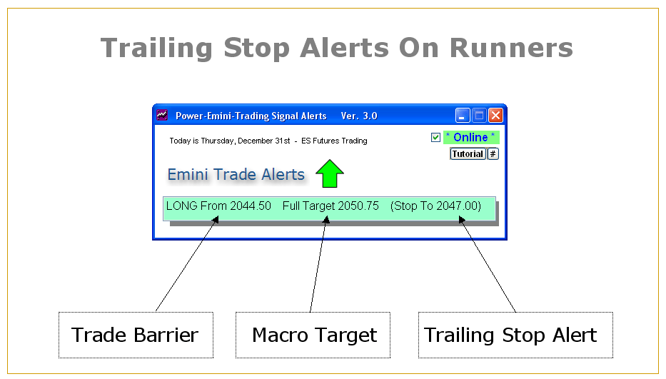 Emini Alert Software Trailing Stops and Targets