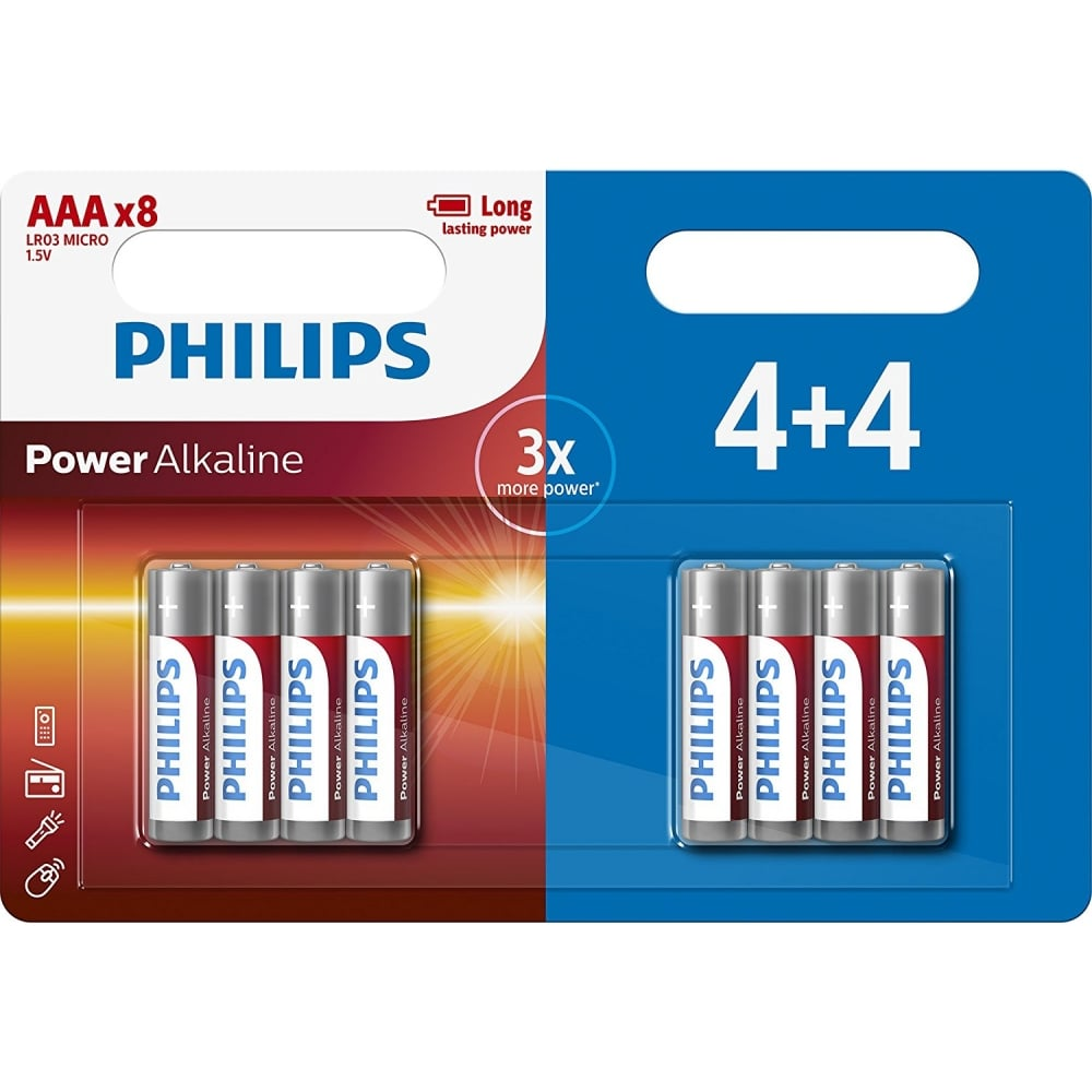 Aaa Baterien Philips Power Alkaline Aaa Batteries Pack Of 8