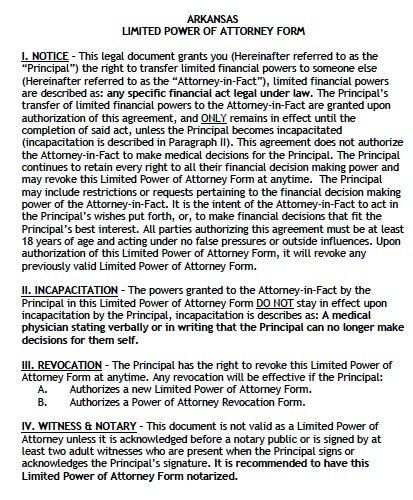 Free Power Of Attorney Form Arkansas Cv Resumes Maker Guide
