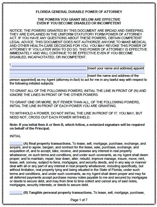 Free Durable Power of Attorney Florida Form \u2013 PDF Template - sample health care power of attorney form