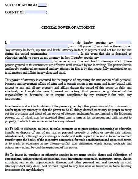 Free General Power of Attorney Georgia Form \u2013 Adobe PDF - general power of attorney form