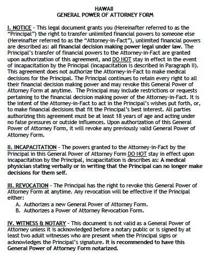 Free General Power of Attorney Hawaii Form u2013 Adobe PDF - general power of attorney forms
