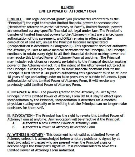 Free Limited Power of Attorney Illinois Form \u2013 Adobe PDF