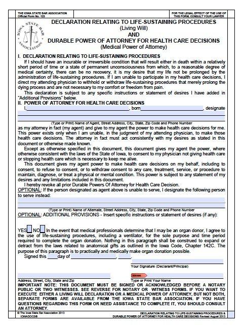 Free Medical Power of Attorney Iowa Form \u2013 Living Will \u2013 Adobe PDF