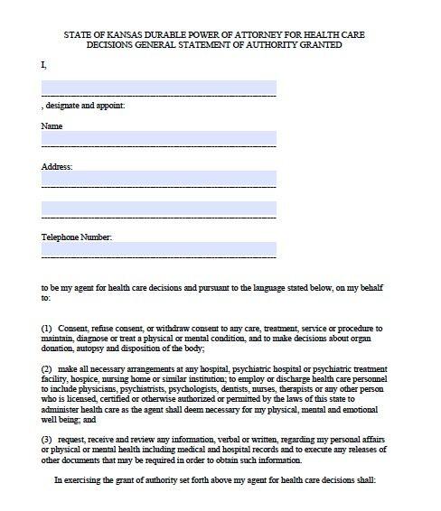 Free Medical Power of Attorney Kansas Form u2013 Adobe PDF - sample medical power of attorney form example
