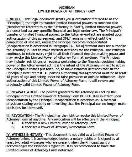 Free Limited Power of Attorney Michigan Form u2013 Adobe PDF - sample medical power of attorney form example
