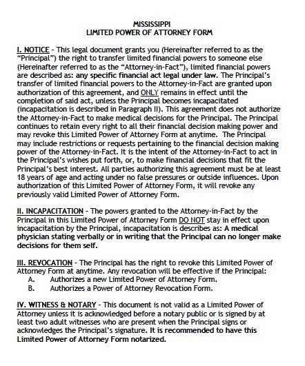 Free Limited Power of Attorney Mississippi Form \u2013 Adobe PDF