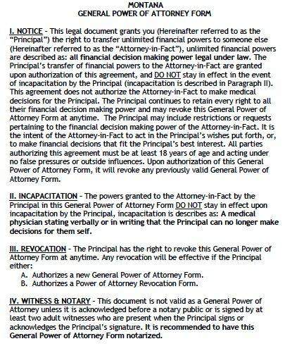 Free General Power of Attorney Montana Form u2013 Adobe PDF - general power of attorney forms