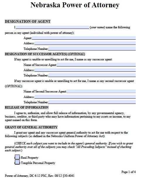 Financial Power Of Attorney Form Financial Power Of Attorney Forms
