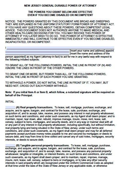 Free Durable Power of Attorney New Jersey Form \u2013 Adobe PDF