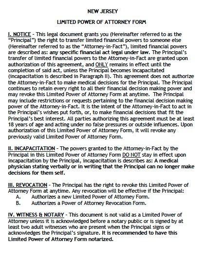 Free Limited Power of Attorney New Jersey Form \u2013 Adobe PDF - sample limited power of attorney form
