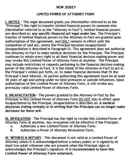 Free Limited Power of Attorney New Jersey Form \u2013 Adobe PDF