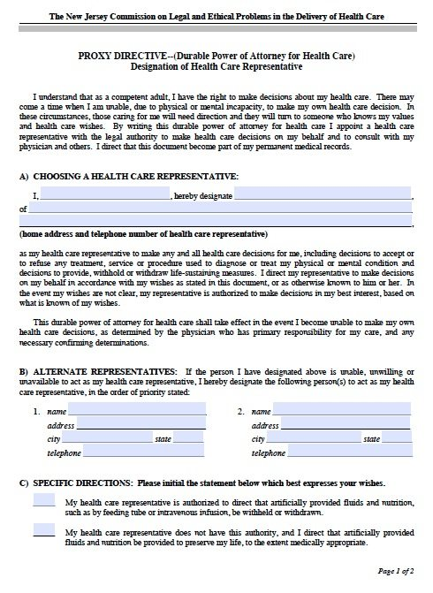 Free Medical Power of Attorney New Jersey Form u2013 Adobe PDF - sample medical power of attorney form example