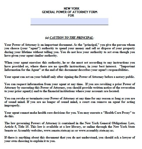 Free General Power of Attorney New York Form \u2013 Adobe PDF - general power of attorney form
