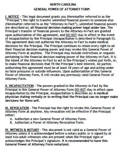 Free General Power of Attorney North Carolina Form u2013 Adobe PDF - sample medical power of attorney form example