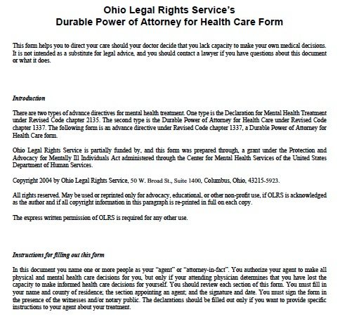 Free Medical Power of Attorney Ohio Form \u2013 Adobe PDF