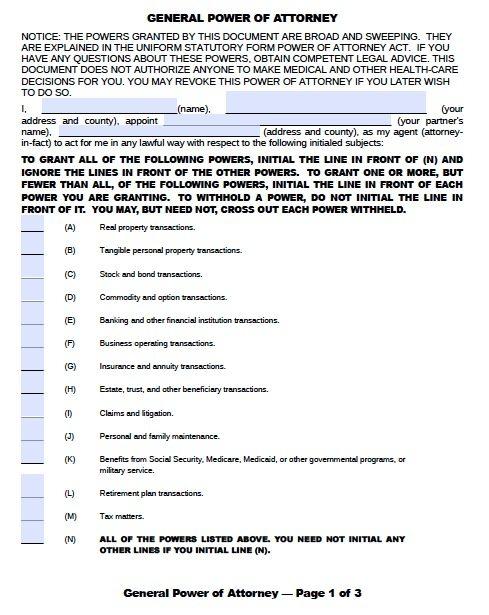 Free General Power of Attorney Oklahoma Form \u2013 Adobe PDF - general power of attorney form