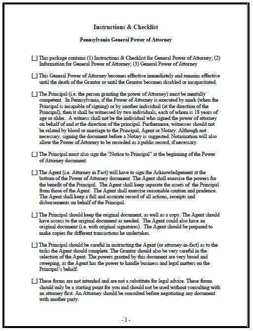 Free General Power of Attorney Pennsylvania Form u2013 Adobe PDF - general power of attorney forms