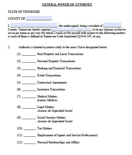 Free General Power of Attorney Tennessee Form u2013 Adobe PDF - general power of attorney forms