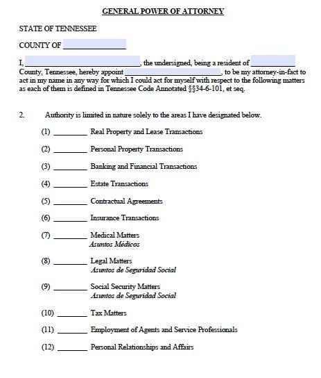 Free General Power of Attorney Tennessee Form \u2013 Adobe PDF