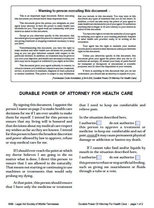 Medical Proxy Form Free Washington State Medical Power Of Attorney - sample health care power of attorney form