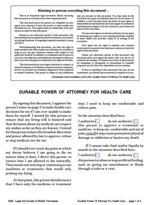 Free Medical Power of Attorney Tennessee Form \u2013 Adobe PDF