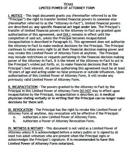 Free Limited Power of Attorney Texas Form \u2013 Adobe PDF