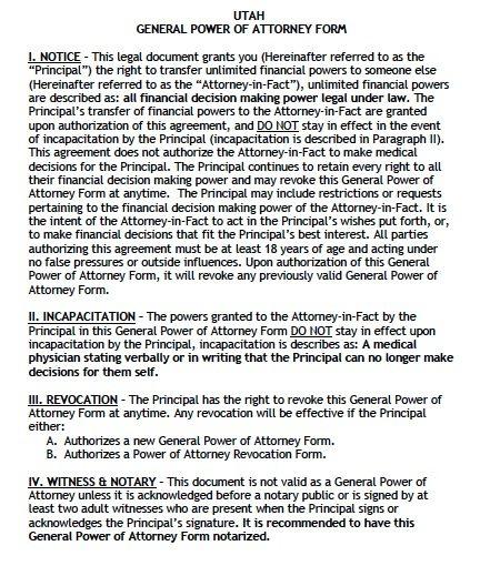 Free General Power of Attorney Utah Form \u2013 Adobe PDF