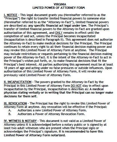 Free Limited Power of Attorney Virginia Form \u2013 Adobe PDF