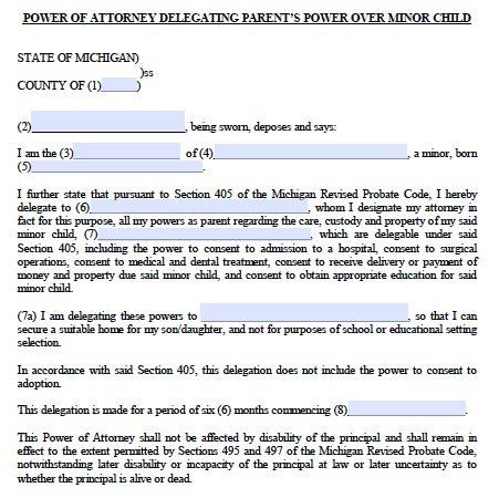 Free Minor Child Guardianship POA Michigan Form \u2013 PDF