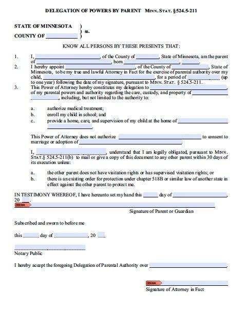 Free Parental Guardianship for Minor Power of Attorney Minnesota \u2013 PDF