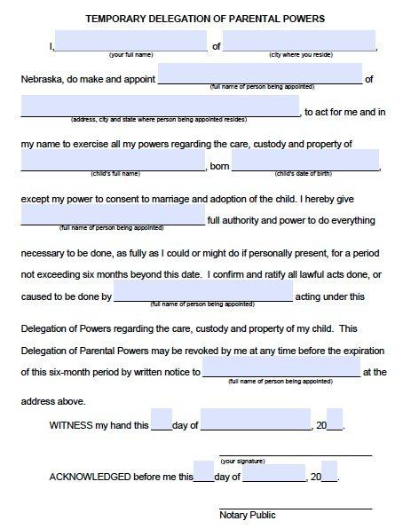 Free Parental Guardianship Over a Minor Power of Attorney Nebraska - temporary guardianship form
