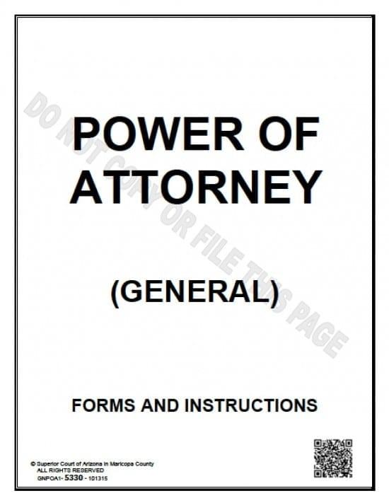 Arizona General Financial Power of Attorney Form - Power of - general power of attorney forms