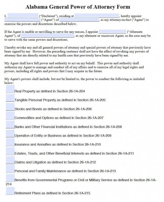 Alabama General Financial Power of Attorney Form - Power of Attorney - general power of attorney form