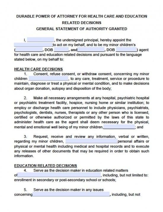 Kansas Minor Child Power of Attorney Form - Power of Attorney - medical power of attorney forms
