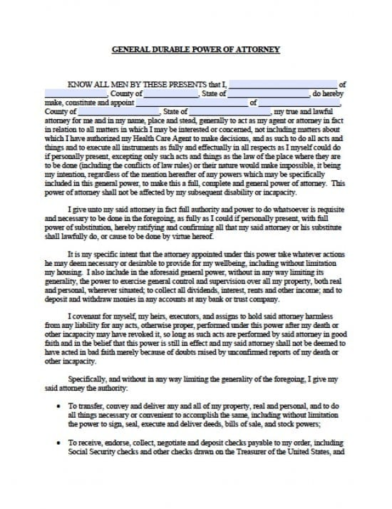 Massachusetts Durable Financial Power of Attorney Form - Power of - general power of attorney form