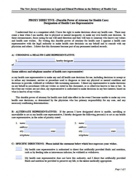 New Jersey Medical Power of Attorney Form - Power of Attorney