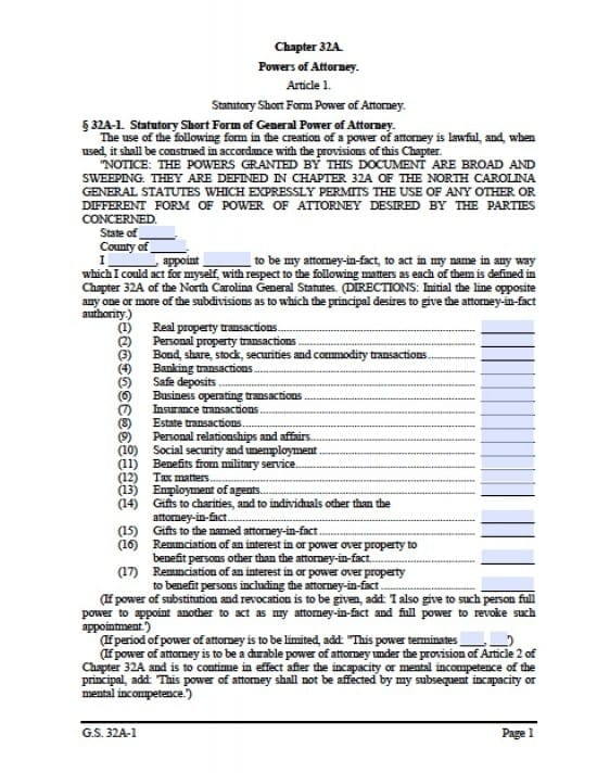 North Carolina Durable Financial Power of Attorney Form - Power of