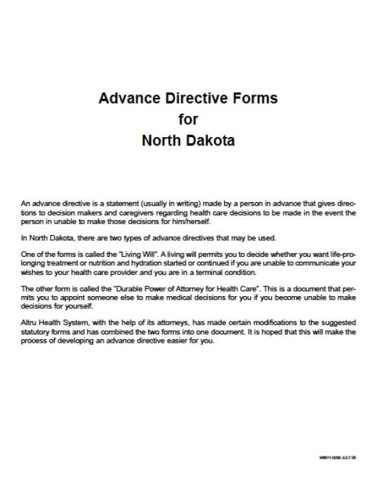 North Dakota Medical Power of Attorney Form - Power of Attorney - Advance Directive Forms