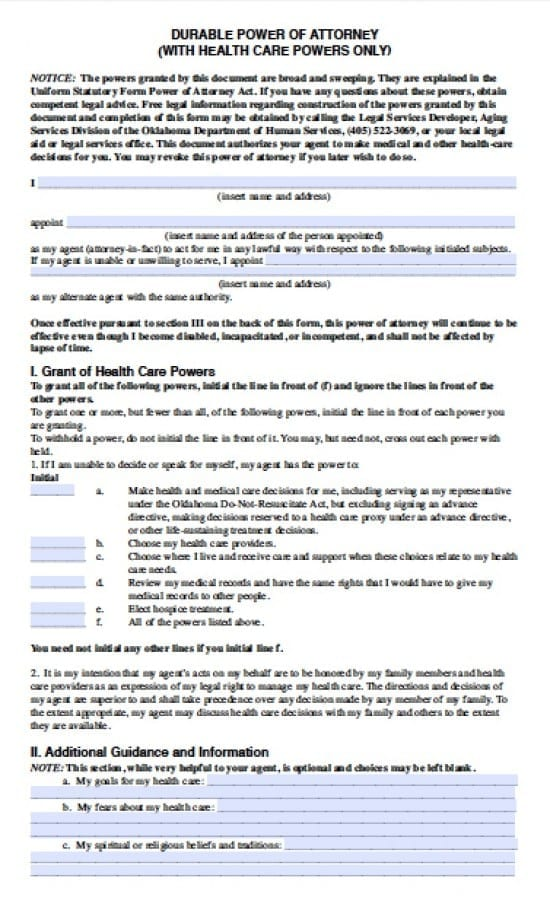 Oklahoma Medical Power of Attorney Form - Power of Attorney  Power - Medical Power Of Attorney Form