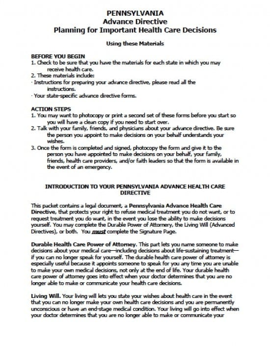Pennsylvania Medical Power of Attorney Form - Power of Attorney - Advance Directive Forms