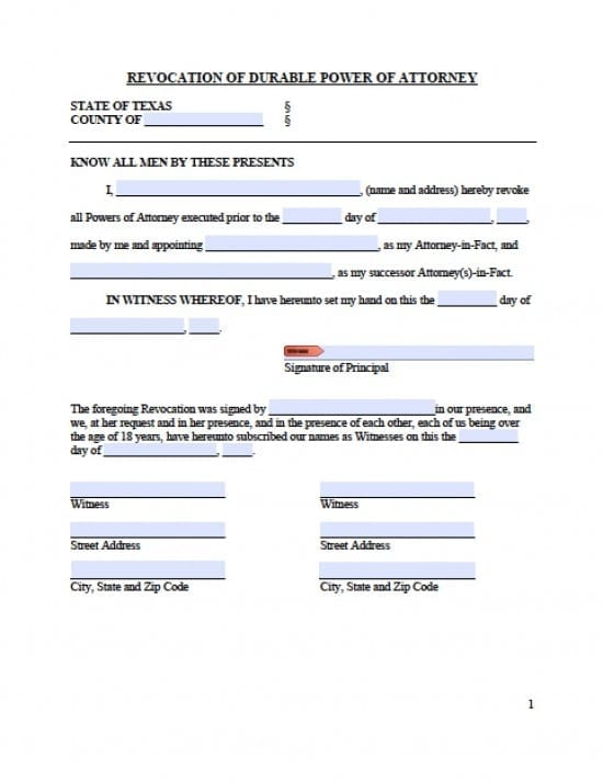Texas Revocation Power of Attorney Form - Power of Attorney  Power - Medical Power Of Attorney Form