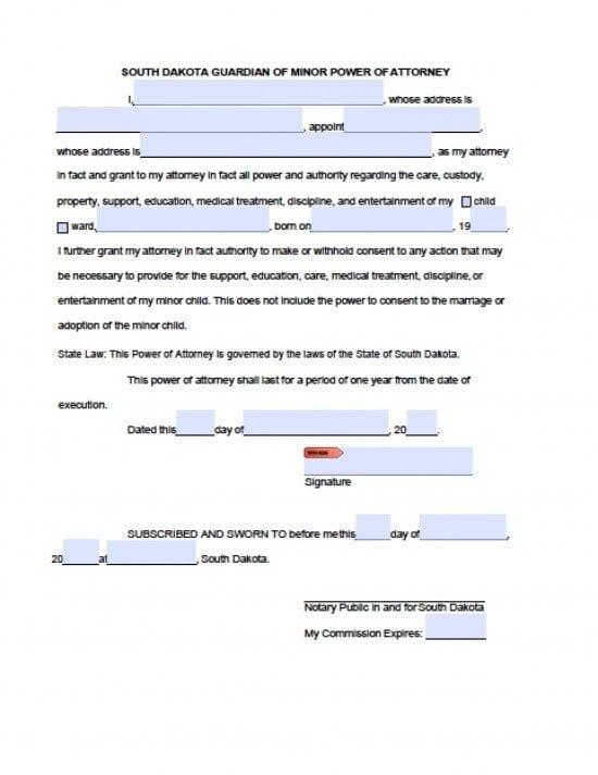 South Dakota Minor Child Power of Attorney Form - Power of - temporary guardianship form