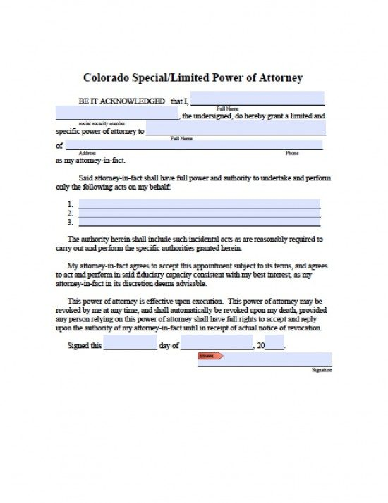 Colorado Limited (Special) Power of Attorney Form - Power of
