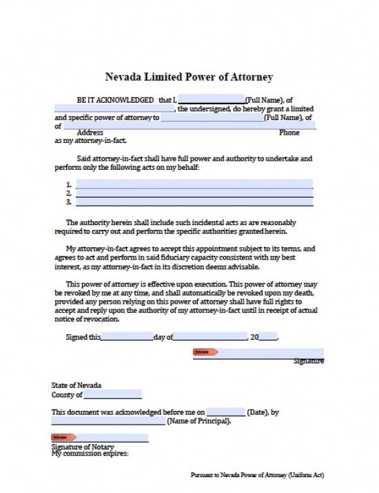 Nevada Limited (Special) Power of Attorney Form - Power of Attorney