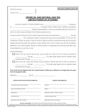 Free Texas Crude Oil Limited Power of Attorney Form Adobe PDF Word