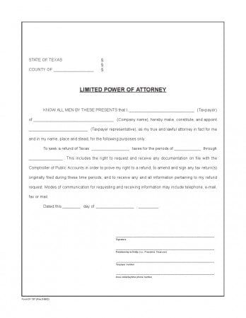Free Texas Limited Power of Attorney Form Adobe PDF Word