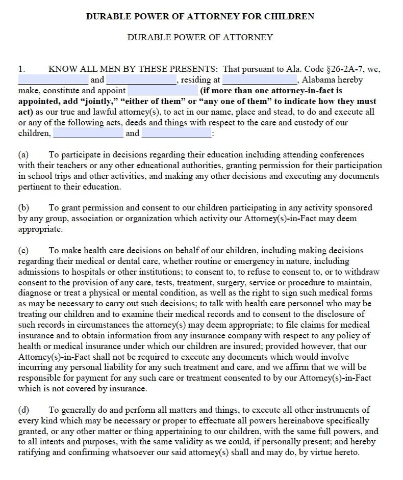 Alabama Power of Attorney for Children Form - Power of Attorney